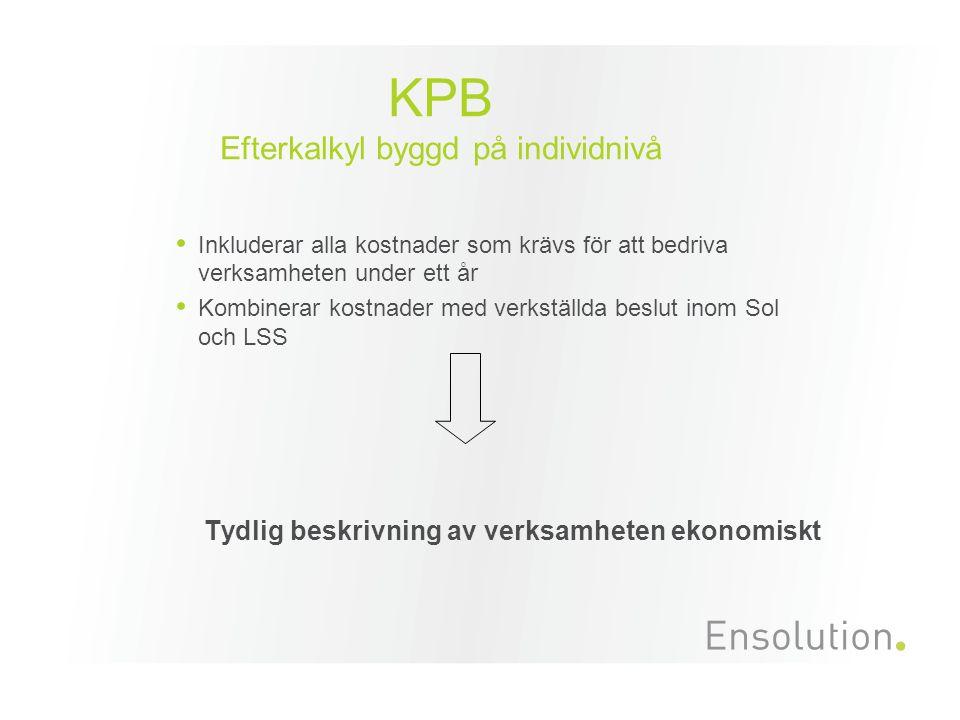 KPB Efterkalkyl byggd på individnivå Inkluderar alla kostnader som krävs för att bedriva verksamheten under ett år Kombinerar kostnader med verkställda beslut inom Sol och LSS Tydlig beskrivning av verksamheten ekonomiskt