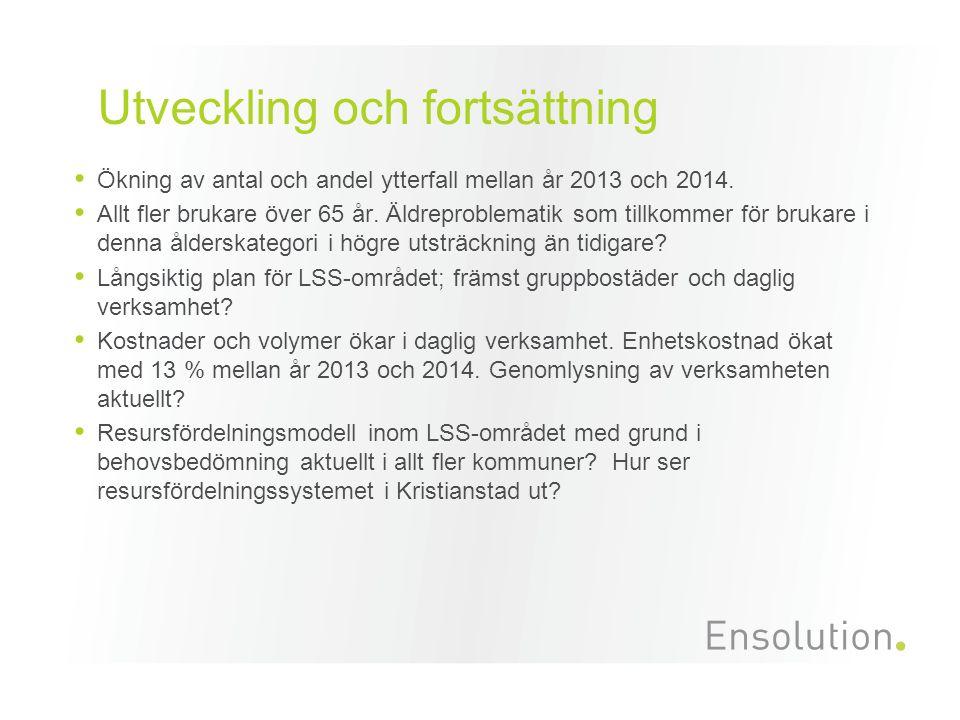 Utveckling och fortsättning Ökning av antal och andel ytterfall mellan år 2013 och 2014.