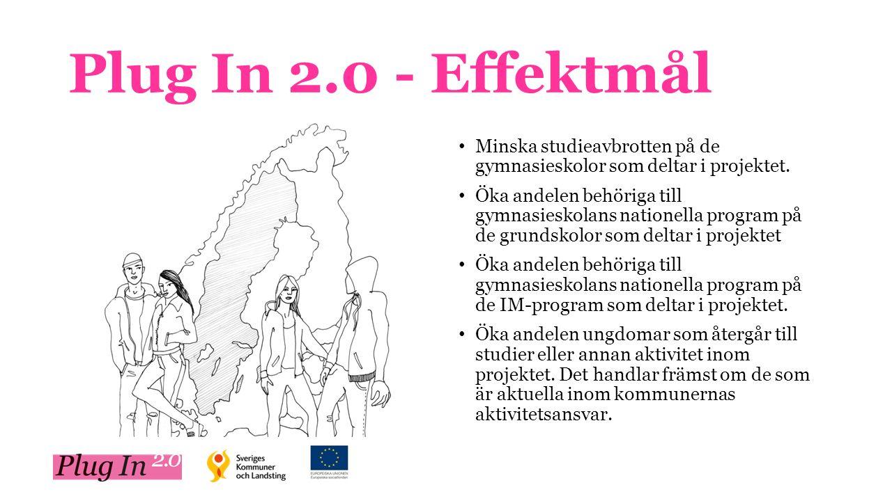 Plug In 2.0 - Effektmål Minska studieavbrotten på de gymnasieskolor som deltar i projektet.