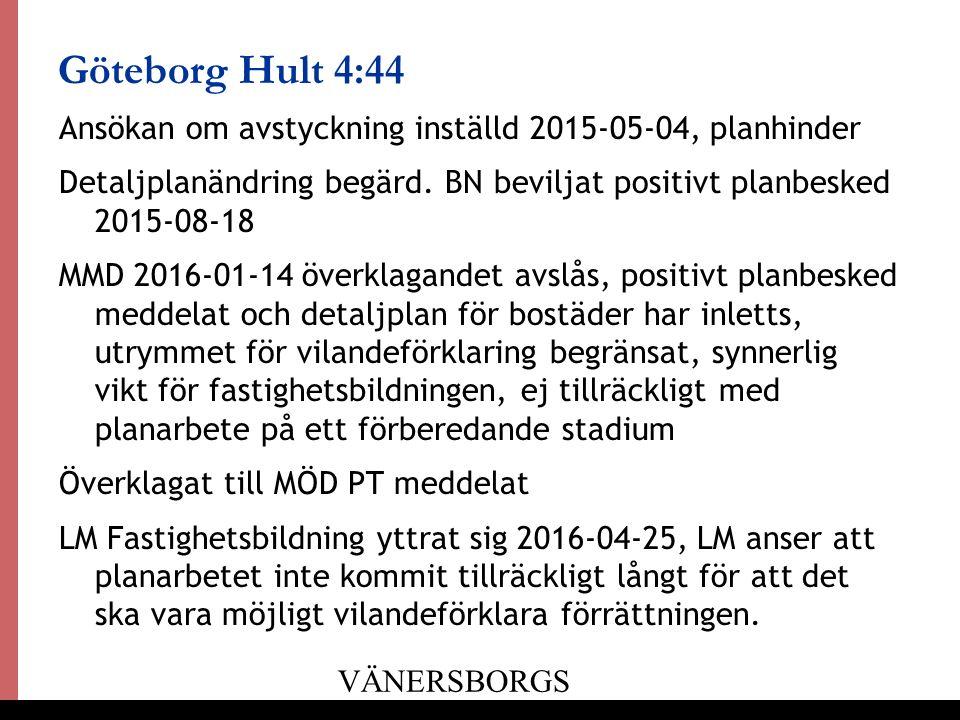 21 Göteborg Hult 4:44 Ansökan om avstyckning inställd 2015-05-04, planhinder Detaljplanändring begärd.