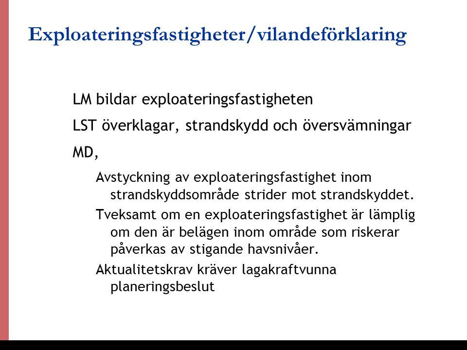 27 Exploateringsfastigheter/vilandeförklaring LM bildar exploateringsfastigheten LST överklagar, strandskydd och översvämningar MD, Avstyckning av exploateringsfastighet inom strandskyddsområde strider mot strandskyddet.
