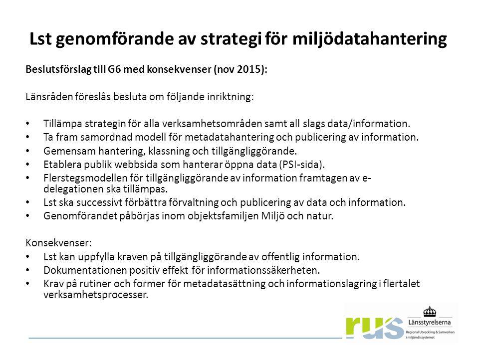 Lst genomförande av strategi för miljödatahantering Beslutsförslag till G6 med konsekvenser (nov 2015): Länsråden föreslås besluta om följande inriktning: Tillämpa strategin för alla verksamhetsområden samt all slags data/information.
