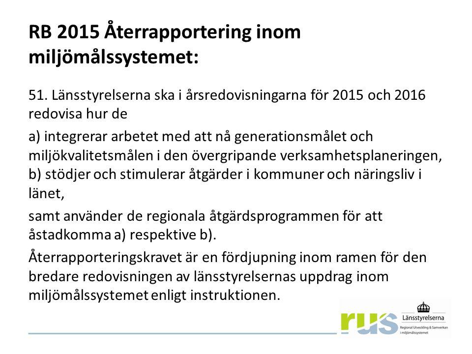 RB 2015 Återrapportering inom miljömålssystemet: 51.