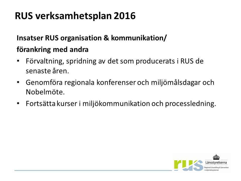 RUS verksamhetsplan 2016 Insatser RUS organisation & kommunikation/ förankring med andra Förvaltning, spridning av det som producerats i RUS de senaste åren.
