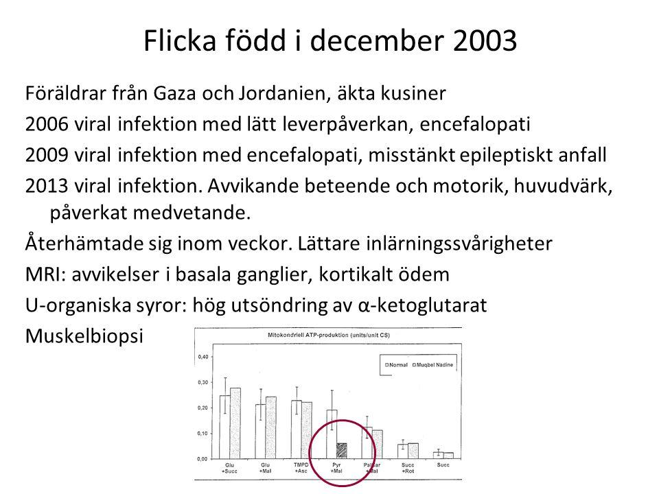 Flicka född i december 2003 Föräldrar från Gaza och Jordanien, äkta kusiner 2006 viral infektion med lätt leverpåverkan, encefalopati 2009 viral infek