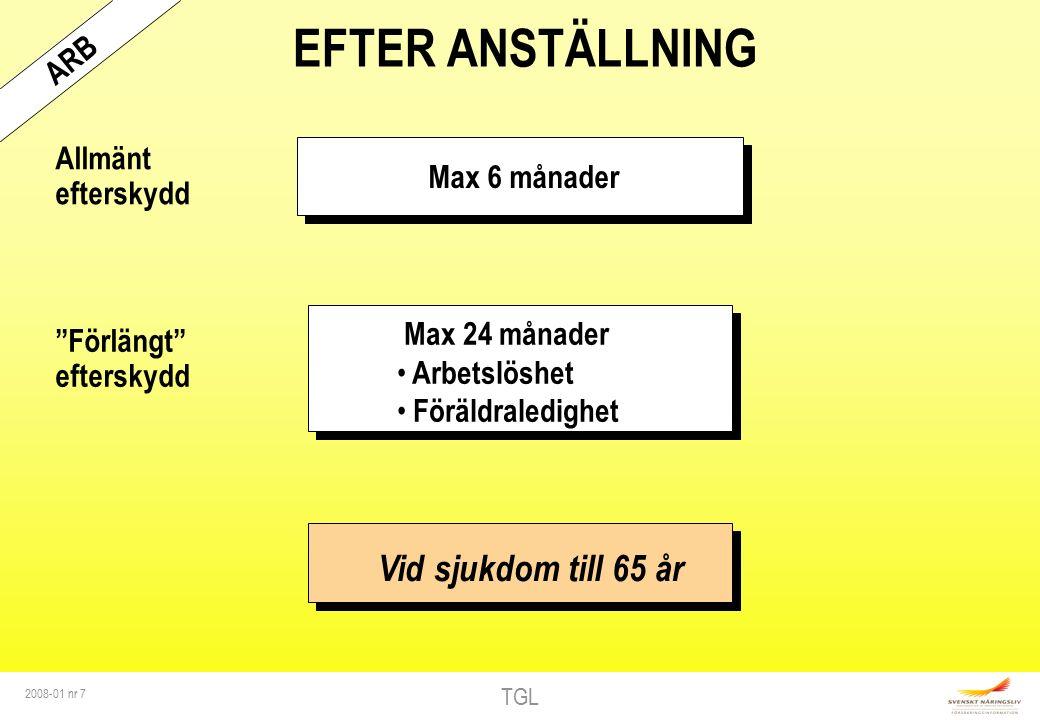 TGL 2008-01 nr 7 EFTER ANSTÄLLNING Vid sjukdom till 65 år Max 6 månader Allmänt efterskydd Max 24 månader Arbetslöshet Föräldraledighet Förlängt efterskydd ARB