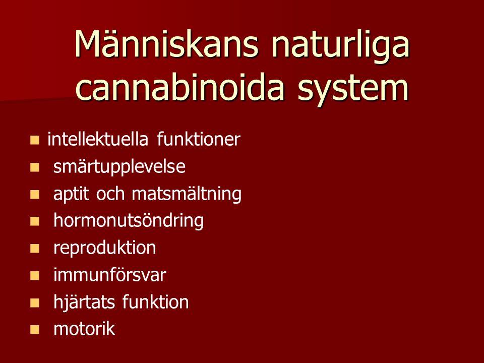 Människans naturliga cannabinoida system intellektuella funktioner smärtupplevelse aptit och matsmältning hormonutsöndring reproduktion immunförsvar hjärtats funktion motorik