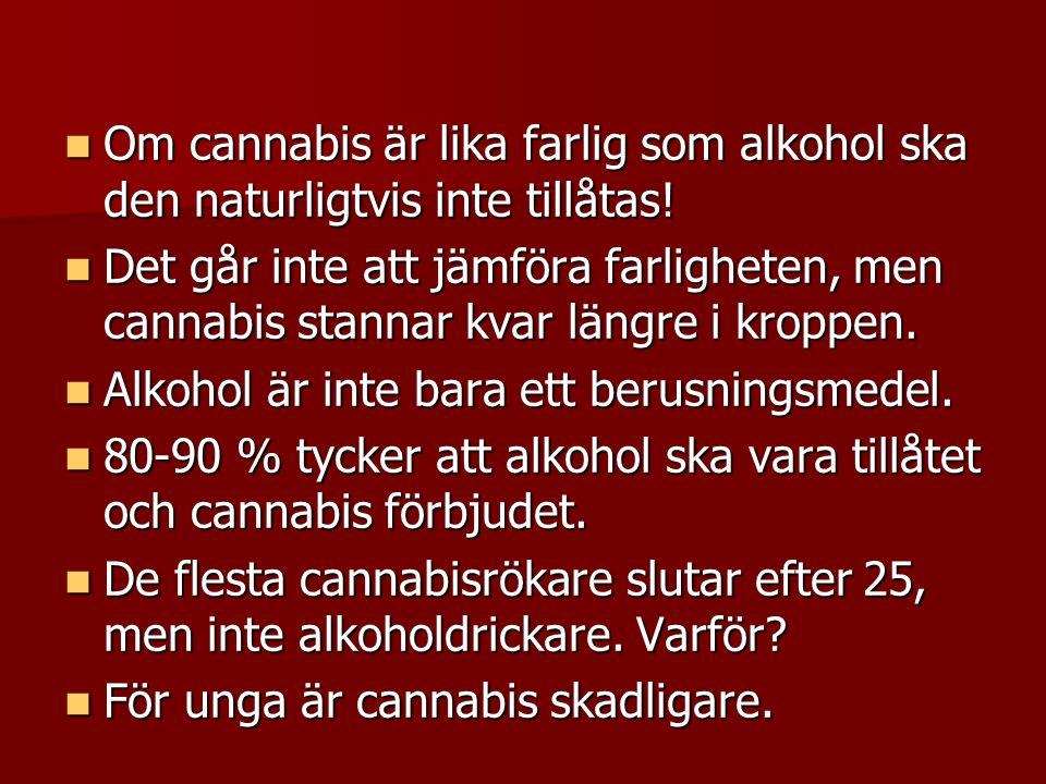 Om cannabis är lika farlig som alkohol ska den naturligtvis inte tillåtas.