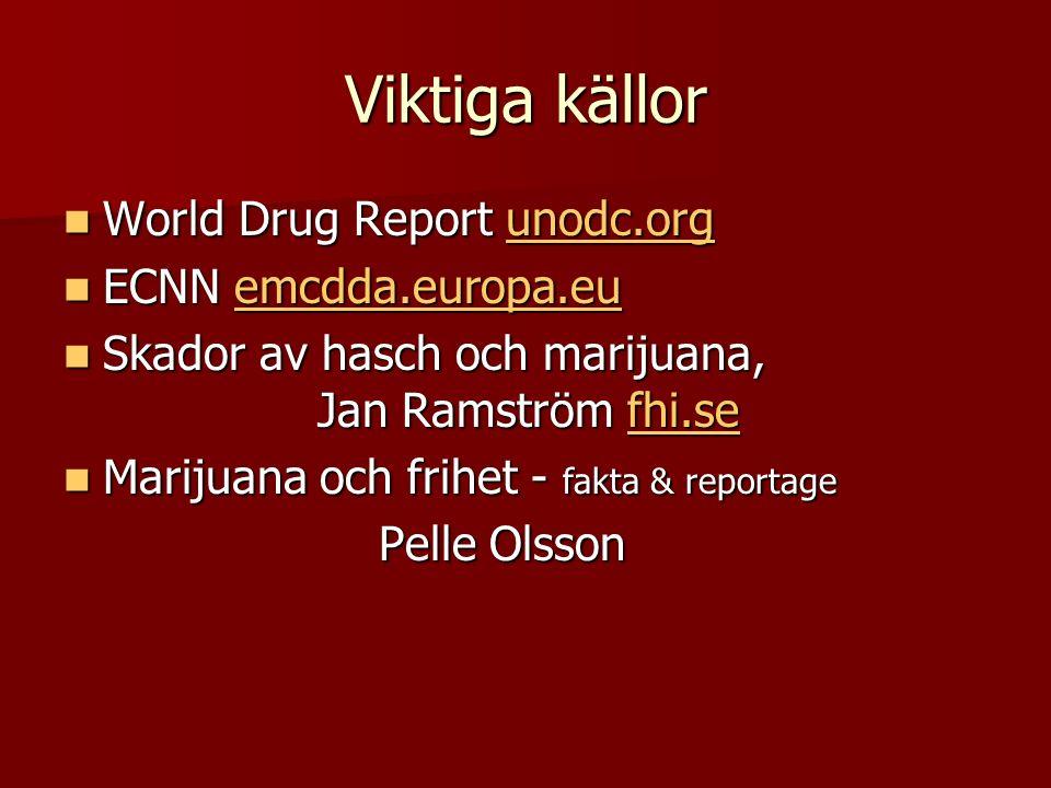 Viktiga källor World Drug Report unodc.org World Drug Report unodc.orgunodc.org ECNN emcdda.europa.eu ECNN emcdda.europa.euemcdda.europa.eu Skador av hasch och marijuana, Jan Ramström fhi.se Skador av hasch och marijuana, Jan Ramström fhi.sefhi.se Marijuana och frihet - fakta & reportage Marijuana och frihet - fakta & reportage Pelle Olsson