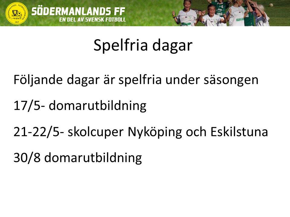 Spelfria dagar Följande dagar är spelfria under säsongen 17/5- domarutbildning 21-22/5- skolcuper Nyköping och Eskilstuna 30/8 domarutbildning