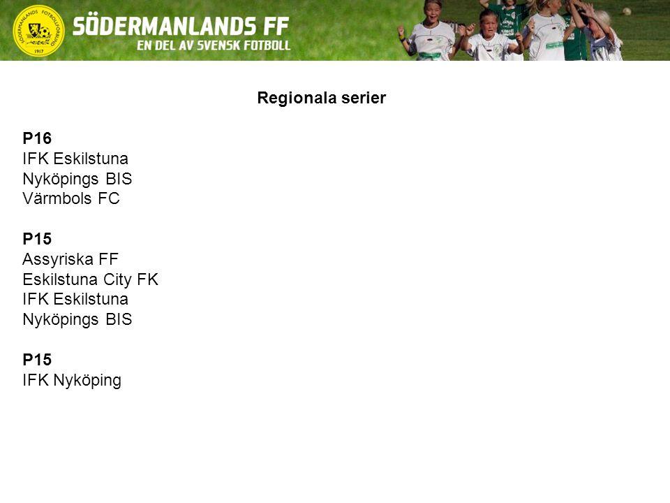 Regionala serier P16 IFK Eskilstuna Nyköpings BIS Värmbols FC P15 Assyriska FF Eskilstuna City FK IFK Eskilstuna Nyköpings BIS P15 IFK Nyköping