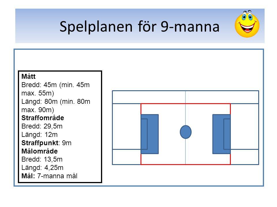Spelplanen för 9-manna Mått Bredd: 45m (min. 45m max.