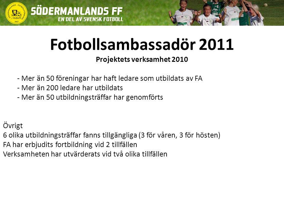 Utbildningspaket fotbollsambassadör Utbildningspaketen består av 30 minuter teori och 60 minuter metodik med övningstrupp Innehåll 2011 Träff 1.Sörmlandsmodellen och utbildningsplan Träff 2.Sörmlandsmodellen och träningsplanering Träff 3.