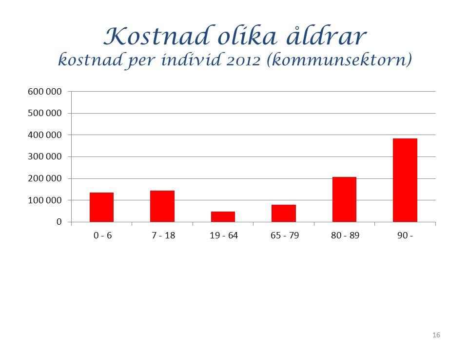 Kostnad olika åldrar kostnad per individ 2012 (kommunsektorn) 16