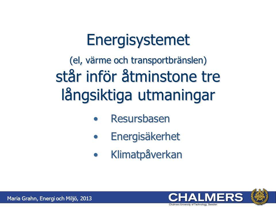 Energisystemet (el, värme och transportbränslen) står inför åtminstone tre långsiktiga utmaningar ResursbasenResursbasen EnergisäkerhetEnergisäkerhet