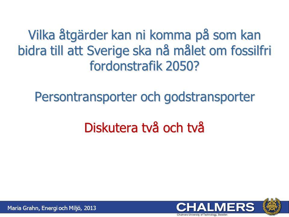 Vilka åtgärder kan ni komma på som kan bidra till att Sverige ska nå målet om fossilfri fordonstrafik 2050? Persontransporter och godstransporter Disk