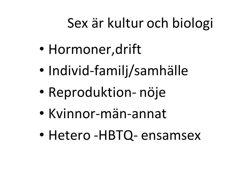 Sex är kultur och biologi Hormoner,drift Individ-familj/samhälle Reproduktion- nöje Kvinnor-män-annat Hetero -HBTQ- ensamsex