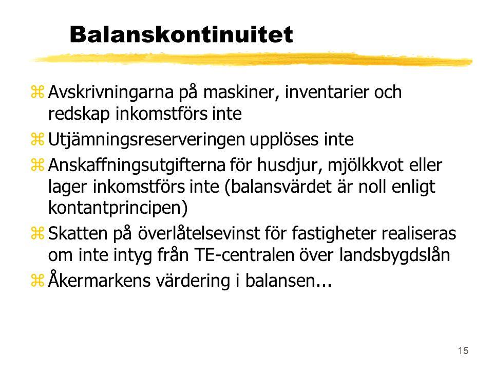 15 Balanskontinuitet zAvskrivningarna på maskiner, inventarier och redskap inkomstförs inte zUtjämningsreserveringen upplöses inte zAnskaffningsutgifterna för husdjur, mjölkkvot eller lager inkomstförs inte (balansvärdet är noll enligt kontantprincipen) zSkatten på överlåtelsevinst för fastigheter realiseras om inte intyg från TE-centralen över landsbygdslån zÅkermarkens värdering i balansen...