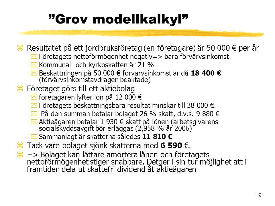 19 Grov modellkalkyl zResultatet på ett jordbruksföretag (en företagare) är 50 000 € per år yFöretagets nettoförmögenhet negativ=> bara förvärvsinkomst yKommunal- och kyrkoskatten är 21 % yBeskattningen på 50 000 € förvärvsinkomst är då 18 400 € (förvärvsinkomstavdragen beaktade) zFöretaget görs till ett aktiebolag yföretagaren lyfter lön på 12 000 € yFöretagets beskattningsbara resultat minskar till 38 000 €.