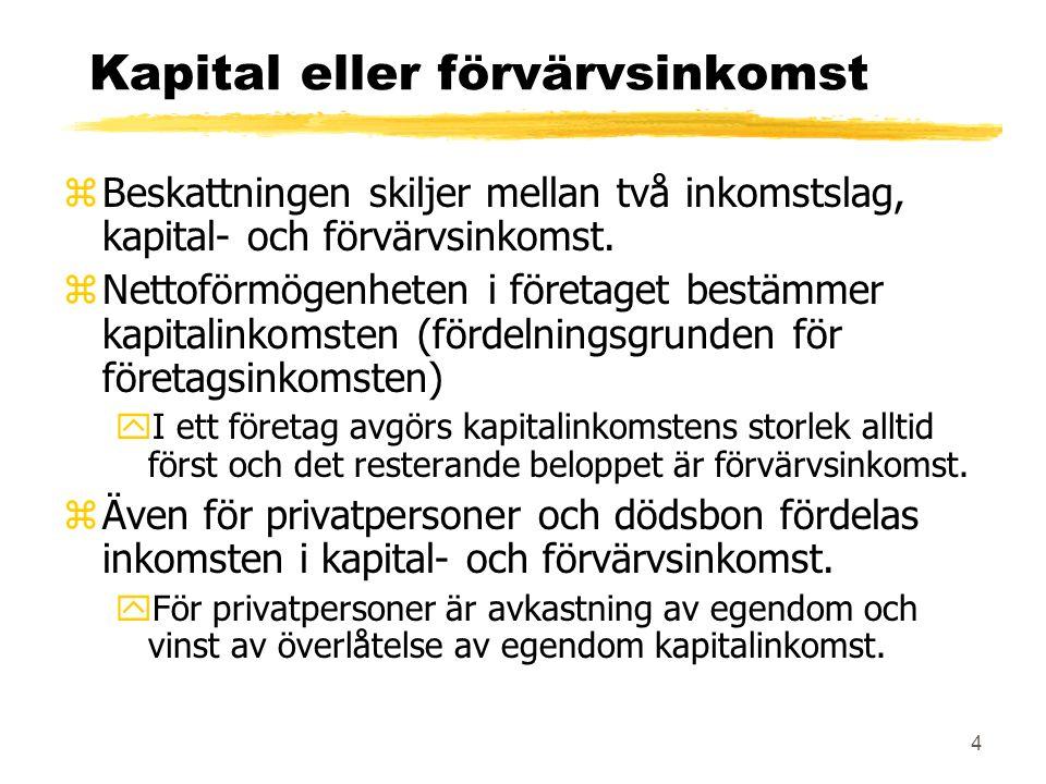 4 Kapital eller förvärvsinkomst zBeskattningen skiljer mellan två inkomstslag, kapital- och förvärvsinkomst.