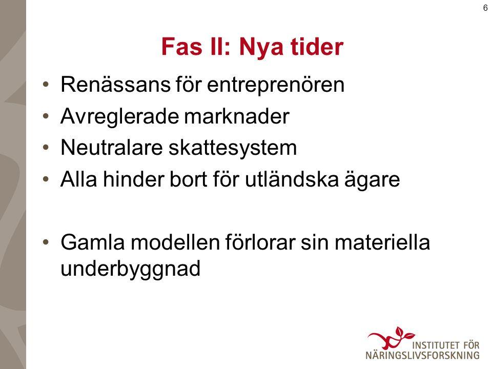 6 Fas II: Nya tider Renässans för entreprenören Avreglerade marknader Neutralare skattesystem Alla hinder bort för utländska ägare Gamla modellen förl