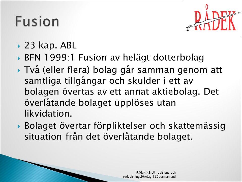  Fusion av helägt dotterbolag - det vi tittar på  Nedströmsfusion  Absorption  Kombination Rådek KB ett revisions och redovisningsföretag i Södermanland