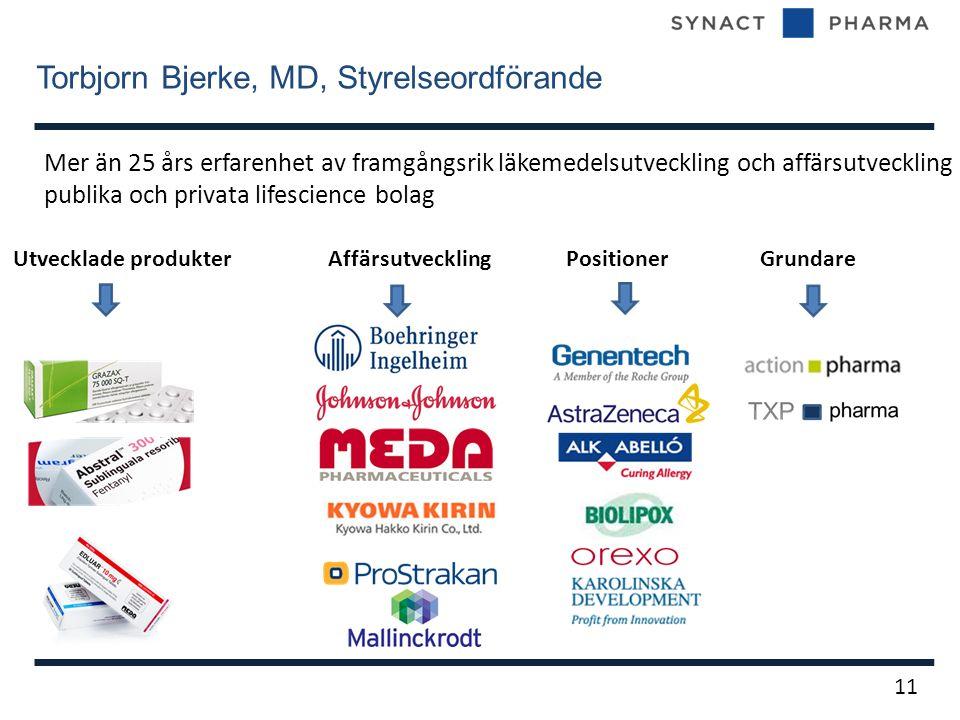 Torbjorn Bjerke, MD, Styrelseordförande 11 Mer än 25 års erfarenhet av framgångsrik läkemedelsutveckling och affärsutveckling i publika och privata lifescience bolag Utvecklade produkter Affärsutveckling Positioner Grundare