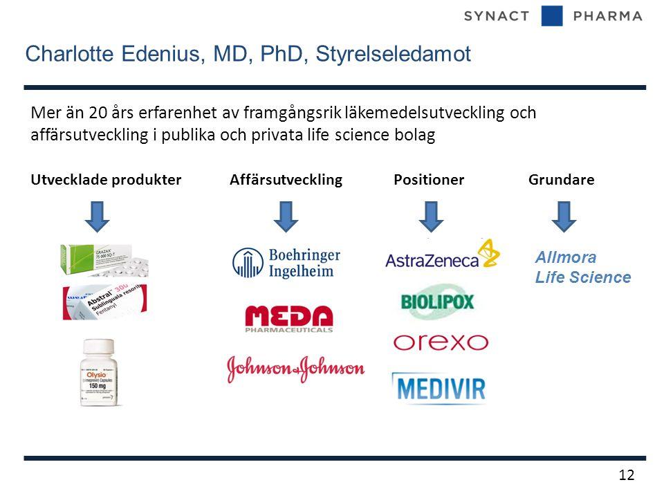 Charlotte Edenius, MD, PhD, Styrelseledamot 12 Mer än 20 års erfarenhet av framgångsrik läkemedelsutveckling och affärsutveckling i publika och privata life science bolag Utvecklade produkter Affärsutveckling Positioner Grundare Allmora Life Science