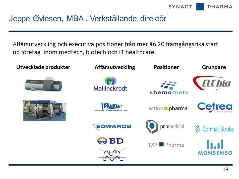 Jeppe Øvlesen, MBA, Verkställande direktör 13 Affärsutveckling och executiva positioner från mer än 20 framgångsrika start up företag inom medtech, biotech och IT healthcare.