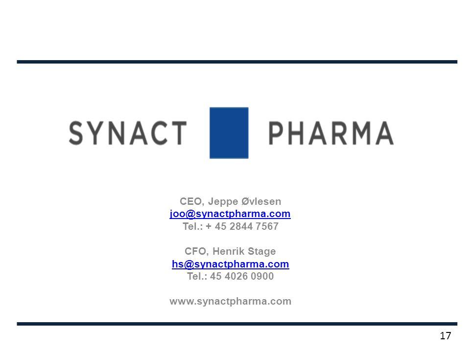 CEO, Jeppe Øvlesen joo@synactpharma.com Tel.: + 45 2844 7567 CFO, Henrik Stage hs@synactpharma.com Tel.: 45 4026 0900 www.synactpharma.com 17