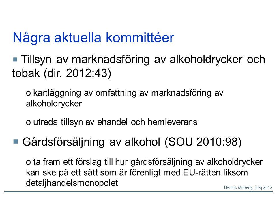 Några aktuella kommittéer Tillsyn av marknadsföring av alkoholdrycker och tobak (dir.