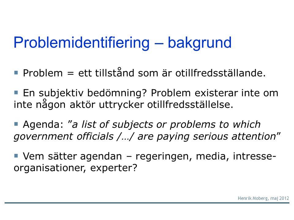 Problemidentifiering – bakgrund Problem = ett tillstånd som är otillfredsställande.