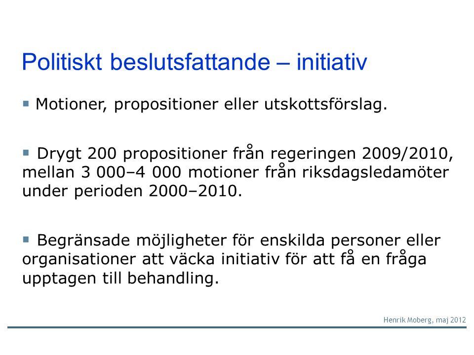 Politiskt beslutsfattande – initiativ Henrik Moberg, maj 2012 Motioner, propositioner eller utskottsförslag.