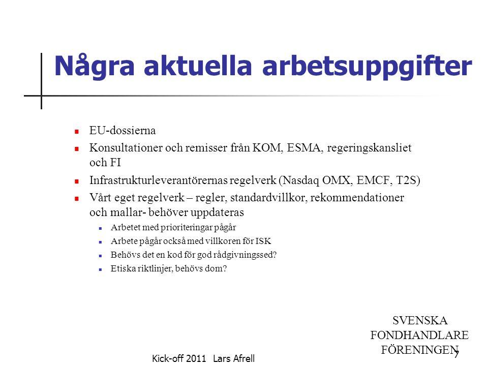 SVENSKA FONDHANDLARE FÖRENINGEN Några aktuella arbetsuppgifter EU-dossierna Konsultationer och remisser från KOM, ESMA, regeringskansliet och FI Infra