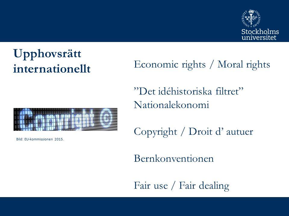 Infosoc-direktivet & rättsutvecklingen 18 undantagsregler eller begränsningar för upphovsrätten Som får införas på frivillig basis i medlemsstaterna Europeisk upphovsrätt måste beakta rättsutvecklingen i EU:s domstol (EUCJ) Foto: Europeiska Unionens Domstol 2015.