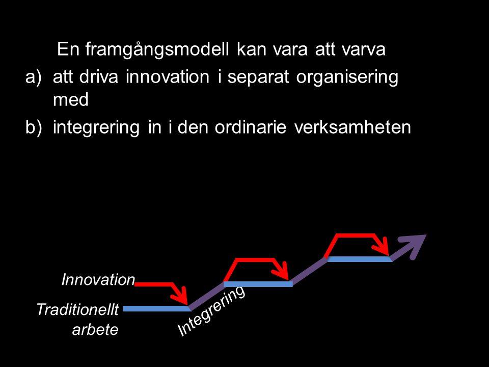 Innovation Integrering Traditionellt arbete En framgångsmodell kan vara att varva a)att driva innovation i separat organisering med b)integrering in i den ordinarie verksamheten