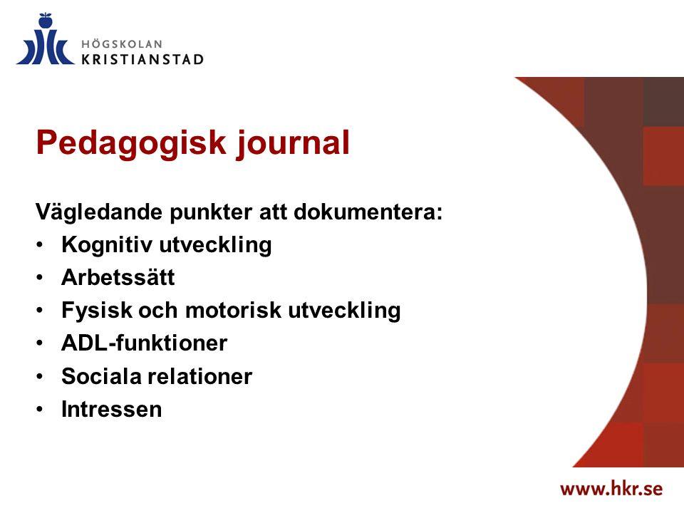 Pedagogisk journal Vägledande punkter att dokumentera: Kognitiv utveckling Arbetssätt Fysisk och motorisk utveckling ADL-funktioner Sociala relationer