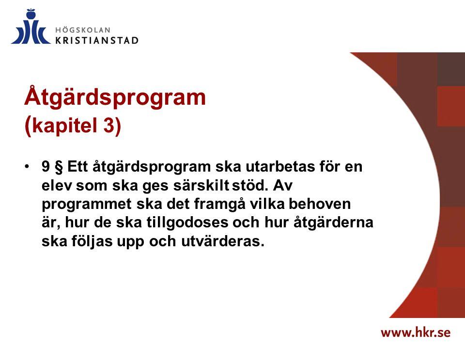 Åtgärdsprogram ( kapitel 3) 9 § Ett åtgärdsprogram ska utarbetas för en elev som ska ges särskilt stöd. Av programmet ska det framgå vilka behoven är,