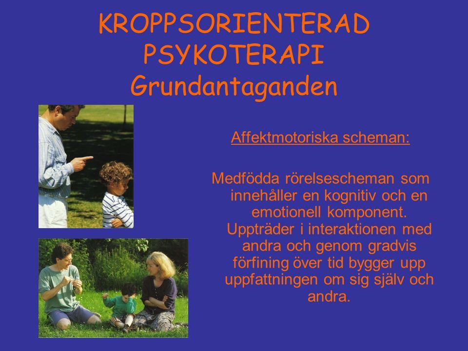 KROPPSORIENTERAD PSYKOTERAPI Grundantaganden Affektmotoriska scheman: Medfödda rörelsescheman som innehåller en kognitiv och en emotionell komponent.