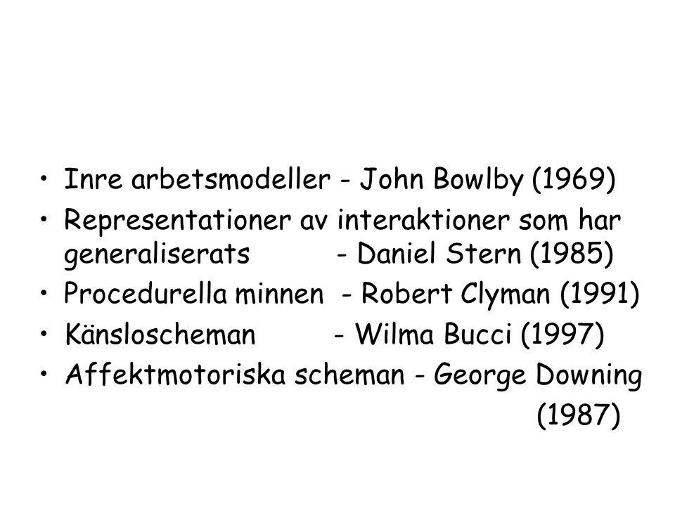 Inre arbetsmodeller - John Bowlby (1969) Representationer av interaktioner som har generaliserats - Daniel Stern (1985) Procedurella minnen - Robert Clyman (1991) Känsloscheman - Wilma Bucci (1997) Affektmotoriska scheman - George Downing (1987)