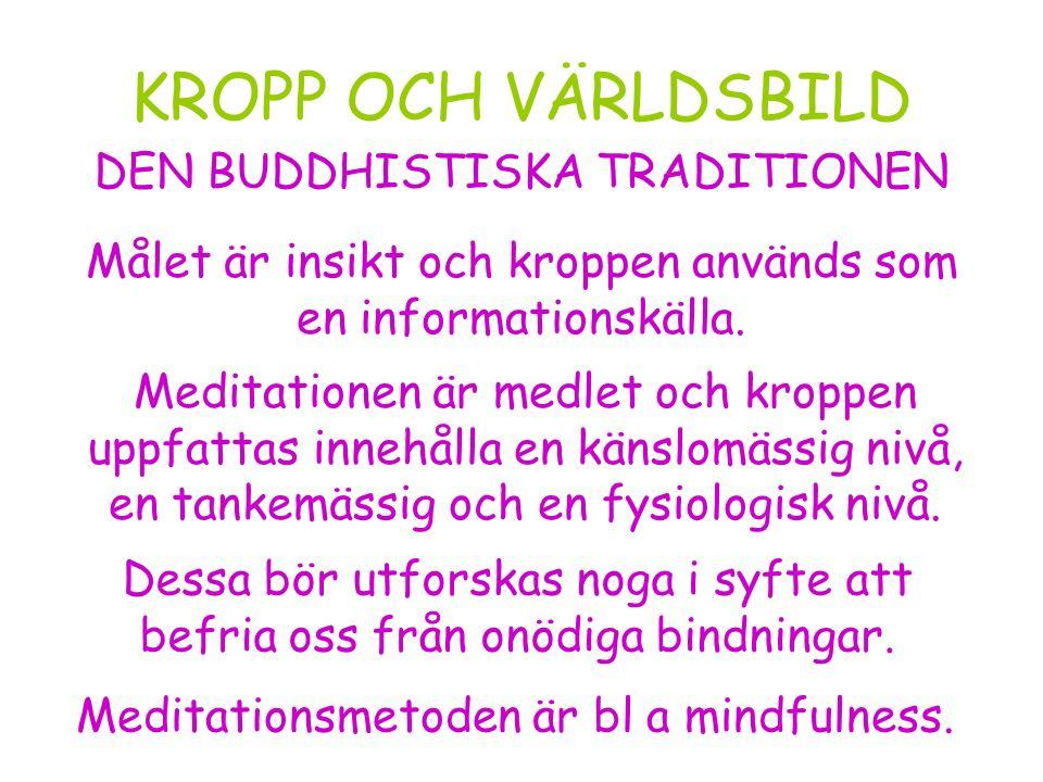 KROPP OCH VÄRLDSBILD Meditationsmetoden är bl a mindfulness.