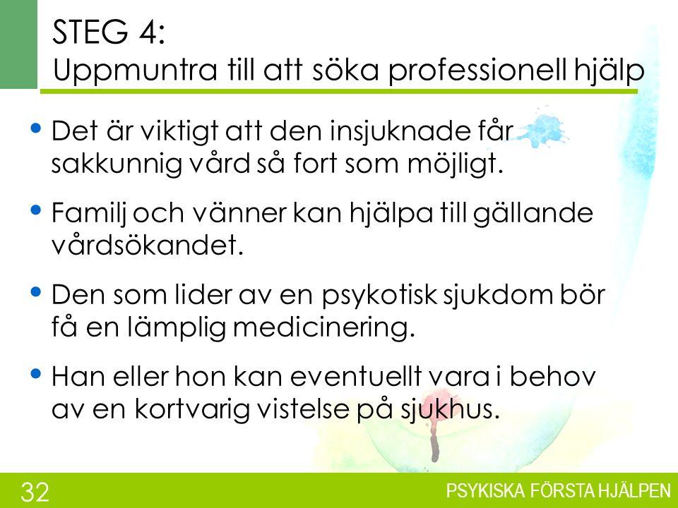 PSYKISKA FÖRSTA HJÄLPEN STEG 3: Uppmuntra och informera Försök få personen att förstå att:  du vill hjälpa.