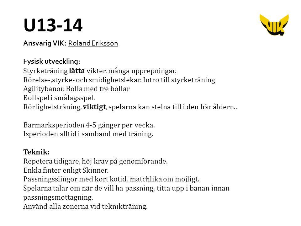 Ansvarig VIK: Roland Eriksson Fysisk utveckling: Styrketräning lätta vikter, många upprepningar. Rörelse-,styrke- och smidighetslekar. Intro till styr