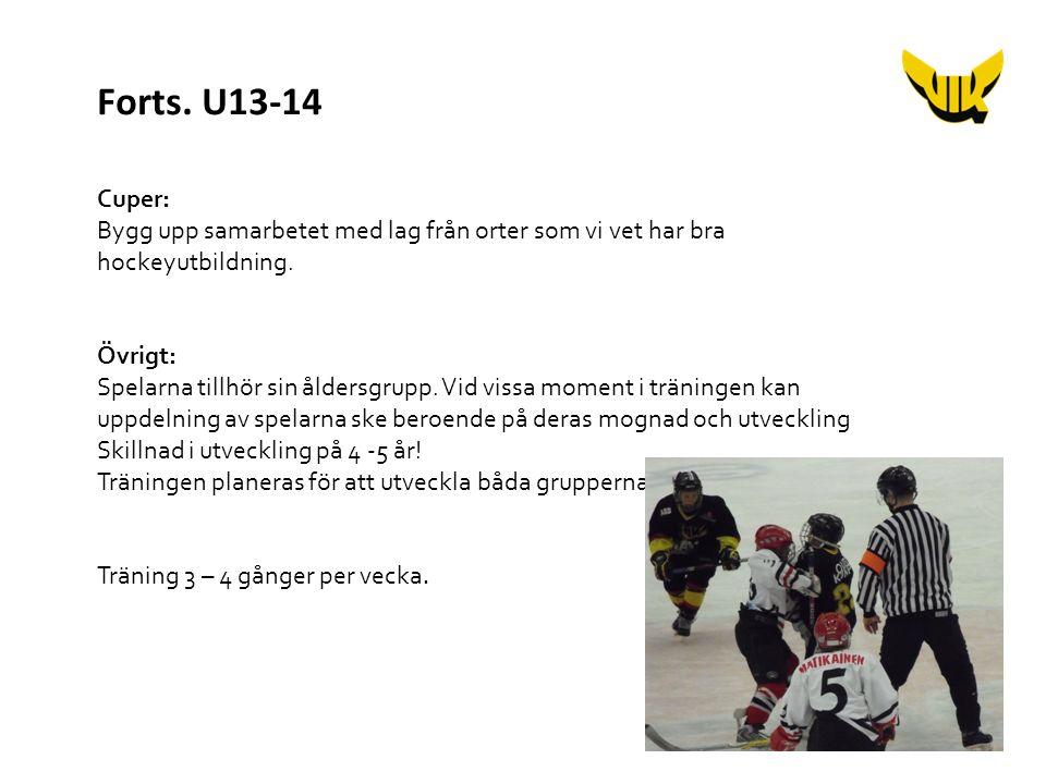 Cuper: Bygg upp samarbetet med lag från orter som vi vet har bra hockeyutbildning. Övrigt: Spelarna tillhör sin åldersgrupp. Vid vissa moment i tränin
