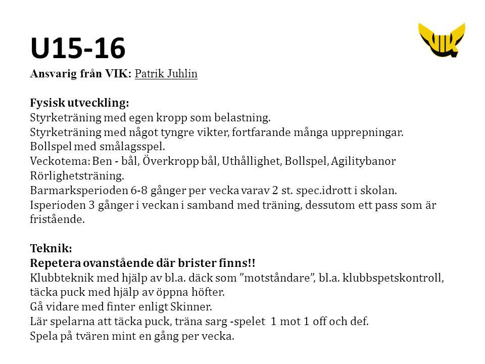 U15-16 Ansvarig från VIK: Patrik Juhlin Fysisk utveckling: Styrketräning med egen kropp som belastning. Styrketräning med något tyngre vikter, fortfar