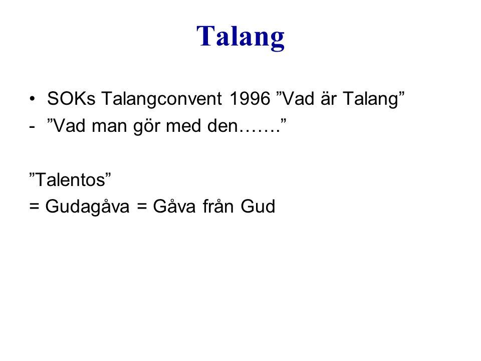 """Talang SOKs Talangconvent 1996 """"Vad är Talang"""" -""""Vad man gör med den……."""" """"Talentos"""" = Gudagåva = Gåva från Gud"""