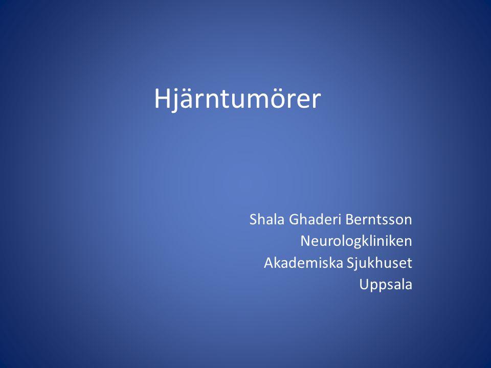 Förekomst av hjärntumörer Totalt c:a 1300 nya patienter / år i Sverige 3 % av alla tumörpatienter Incidens 12-15 per 100.000/år Uppsala-Örebro regionen c:a 250 patienter / år