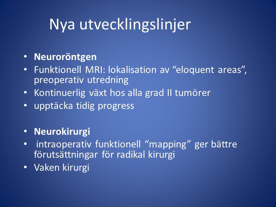 """Neuroröntgen Funktionell MRI: lokalisation av """"eloquent areas"""", preoperativ utredning Kontinuerlig växt hos alla grad II tumörer upptäcka tidig progre"""