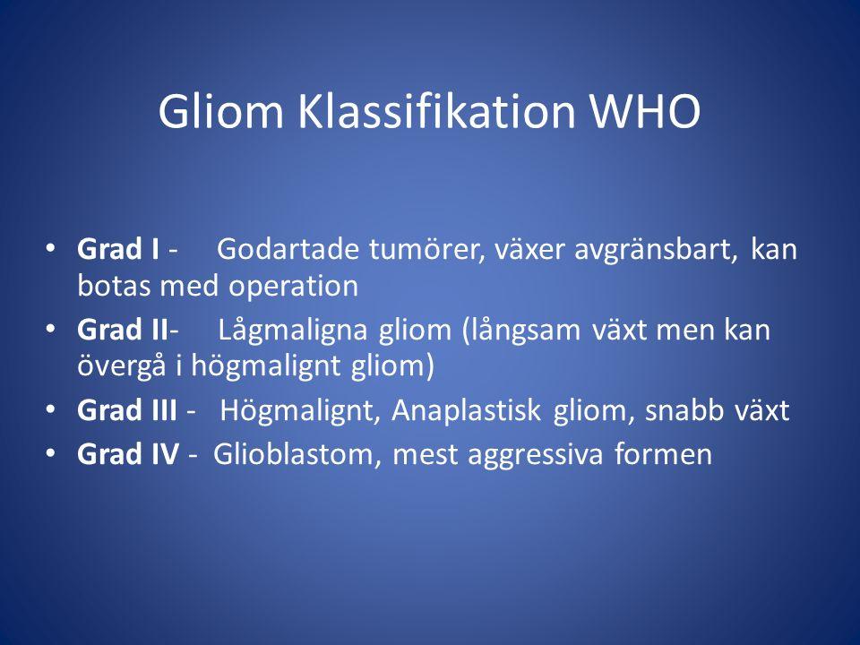 Gliom Klassifikation WHO Grad I - Godartade tumörer, växer avgränsbart, kan botas med operation Grad II- Lågmaligna gliom (långsam växt men kan övergå