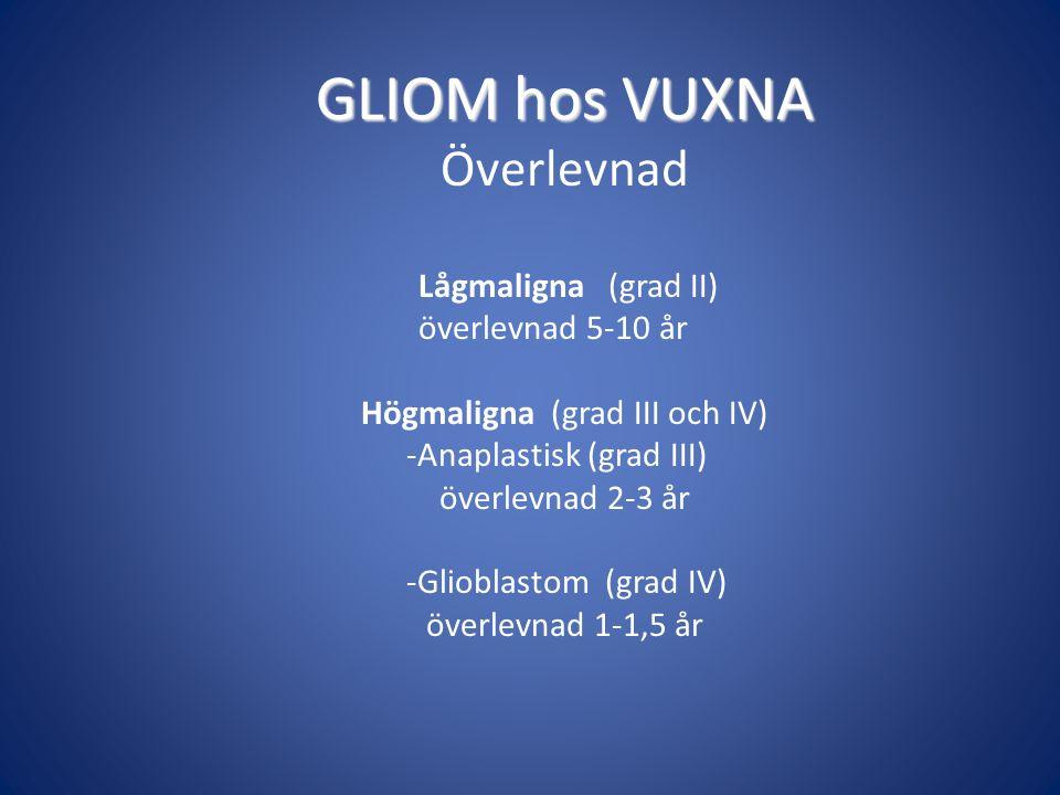 GLIOM hos VUXNA Överlevnad Lågmaligna (grad II) överlevnad 5-10 år Högmaligna (grad III och IV) -Anaplastisk (grad III) överlevnad 2-3 år -Glioblastom